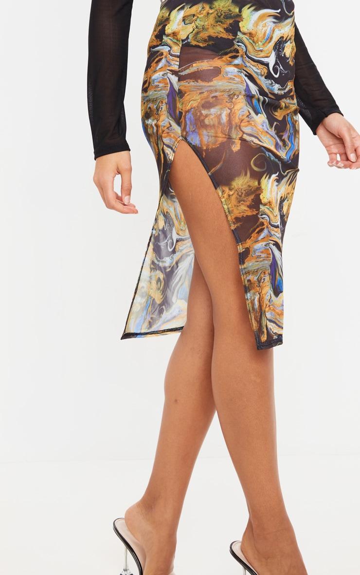 Black Marble Print Mesh Midi Skirt 5