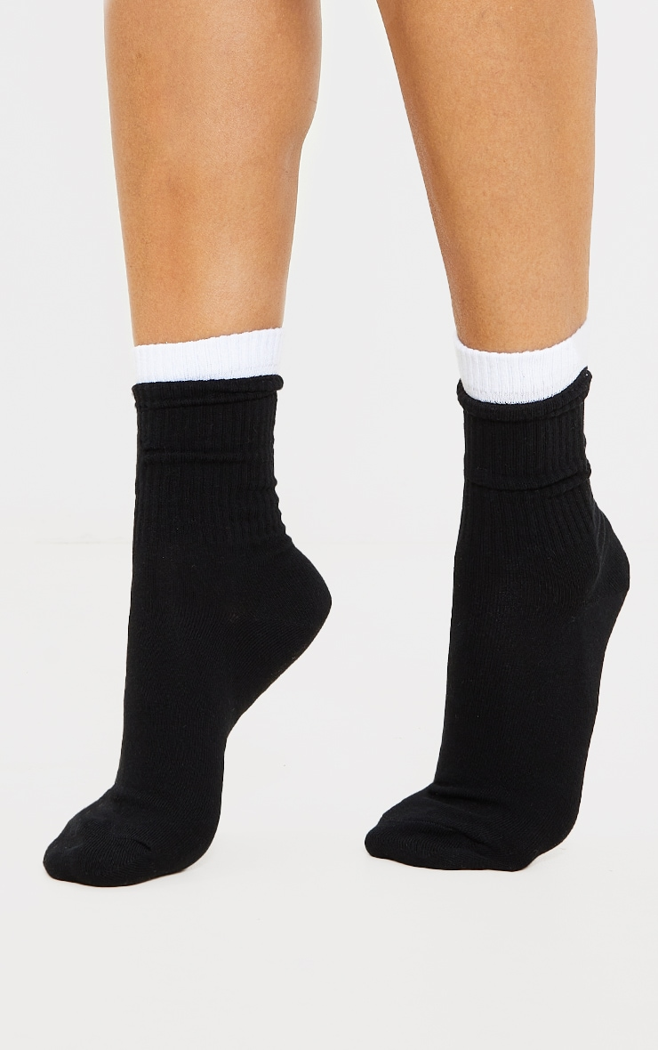 Black Two Tone Double Cuff Socks 1