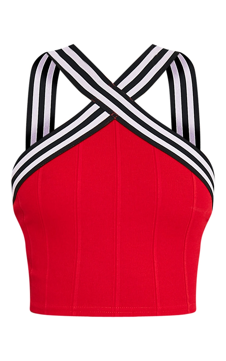 Chantal Red Sporty Bandage Cross Front Crop Top 3
