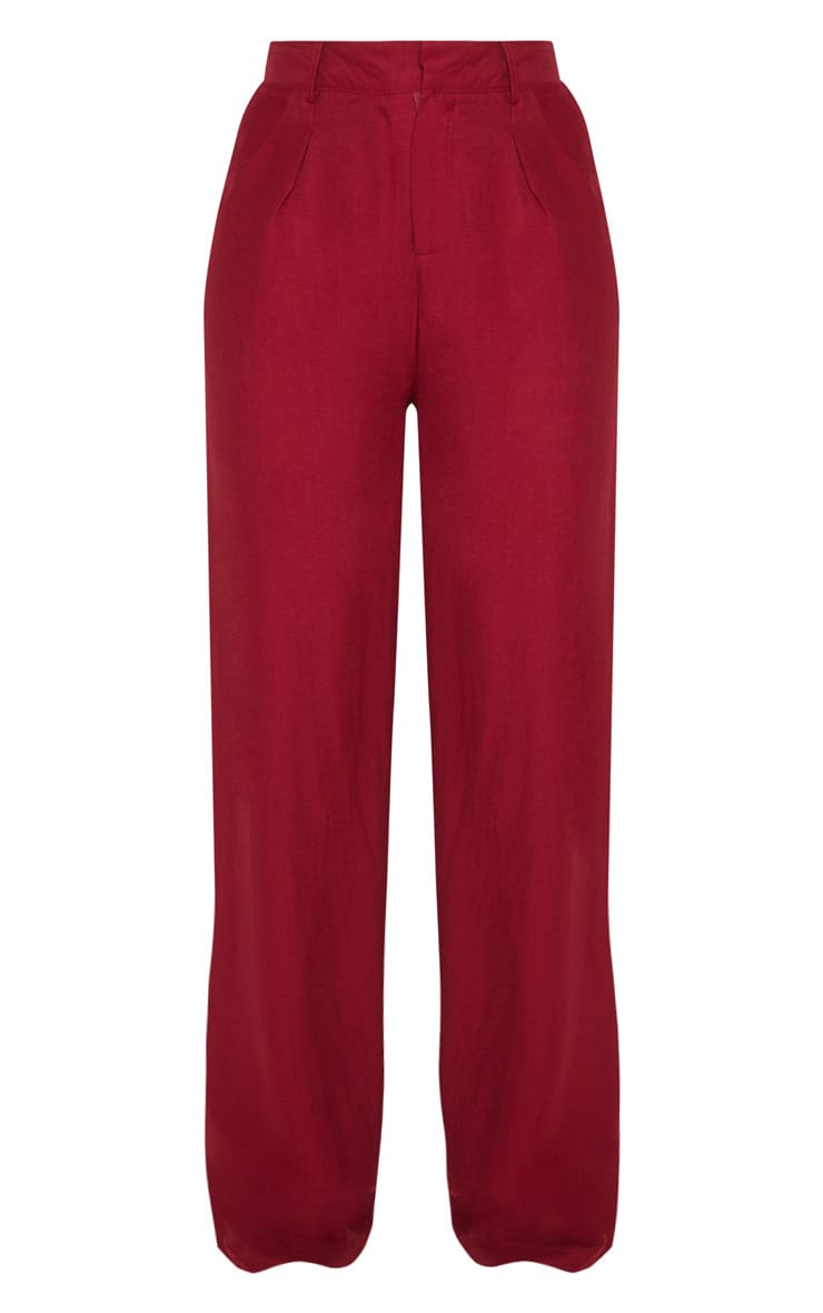 Burgundy Lightweight Pleat Front Wide Leg Pants 3