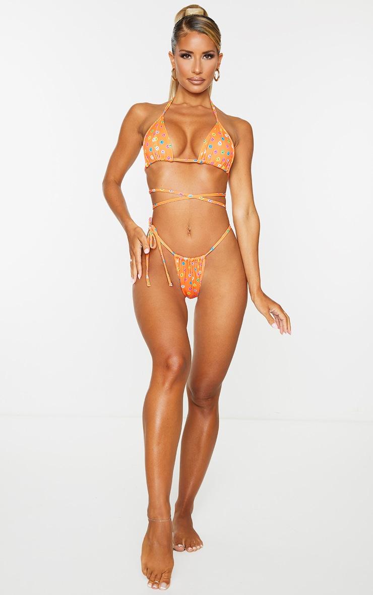 Orange Smiley Face Triangle Bikini Top 3