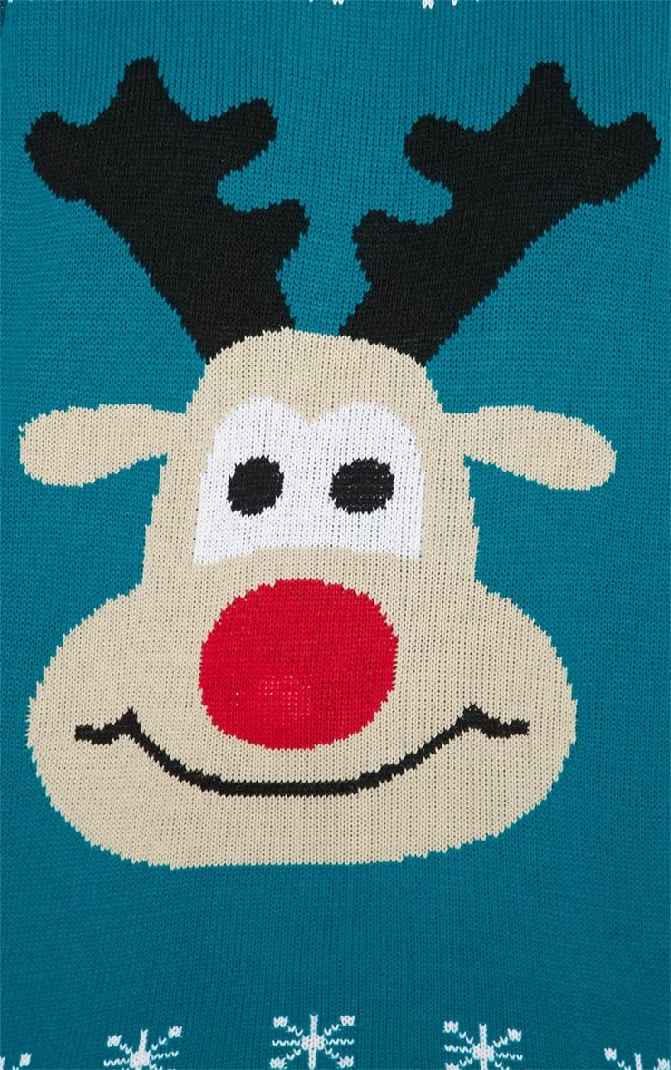 Ema Green Rudolph Light Up Christmas Jumper  5