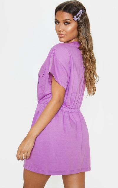 Lilac Pocket Front Tie Waist Jumper Dress