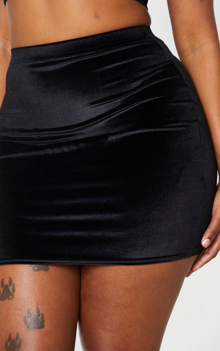Shape Black Velvet High Waist Bodycon Skirt 5