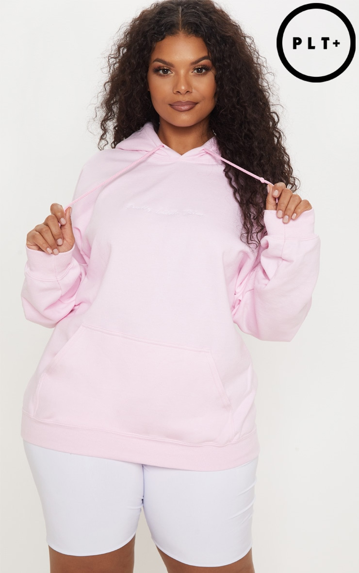 PRETTYLITTLETHING Plus Light Pink Embroidered Oversized Hoodie