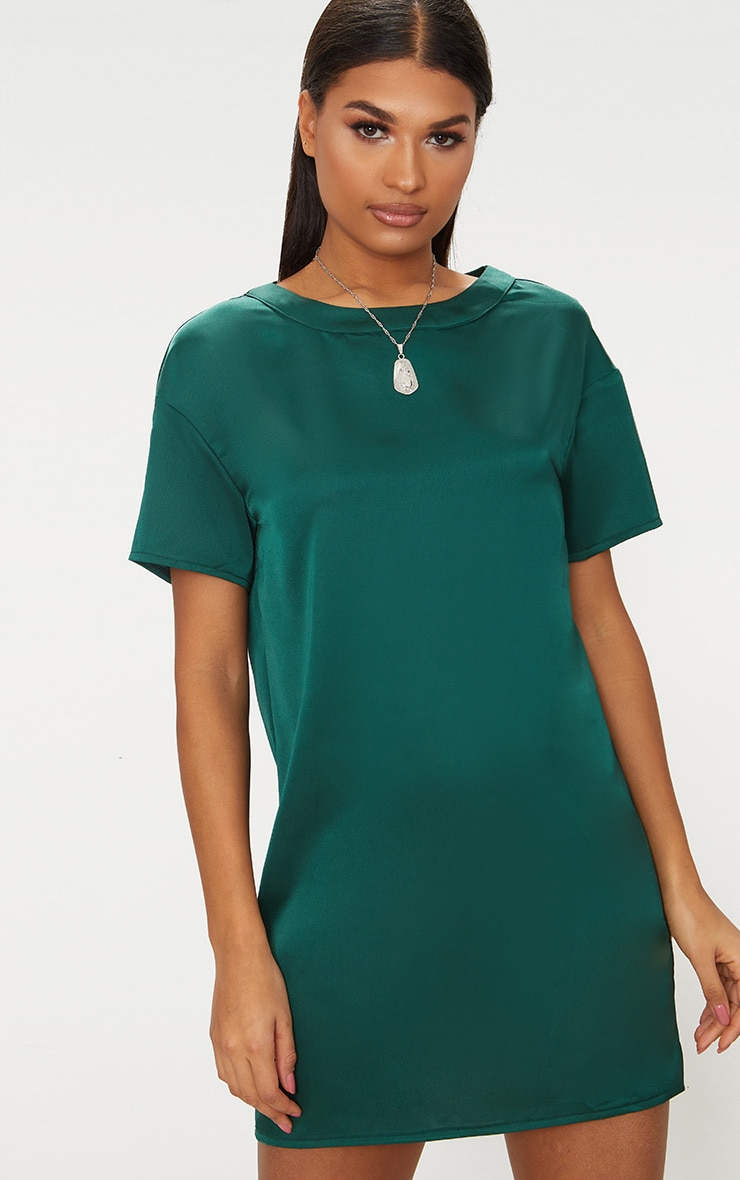 Emerald Green Satin T-shirt Dress