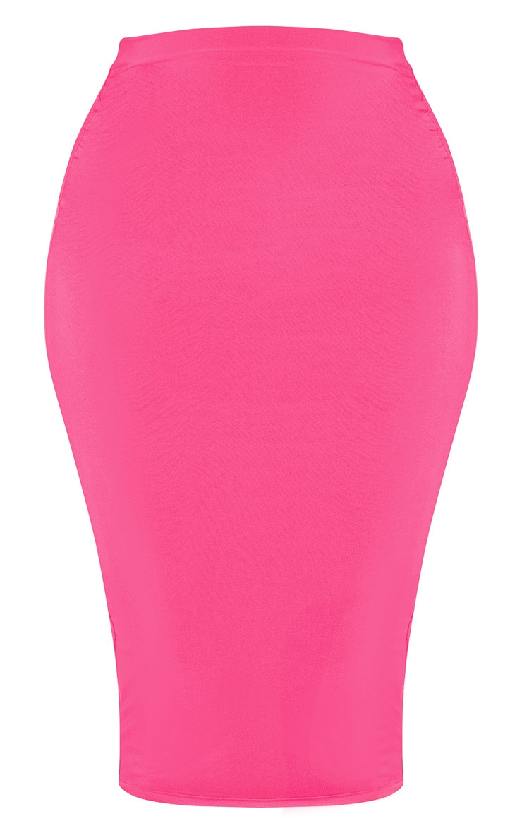 Hot Pink Second Skin Slinky Midi Skirt 3