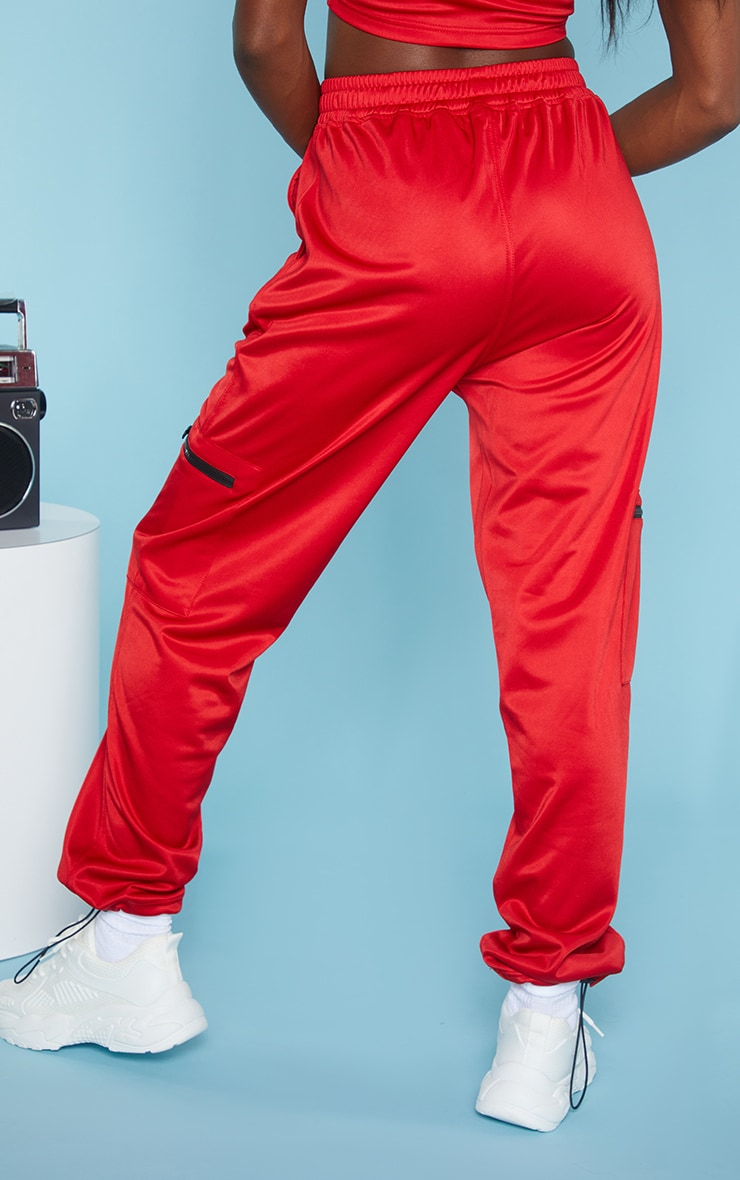 Red Zip Pocket Detail Joggers 3