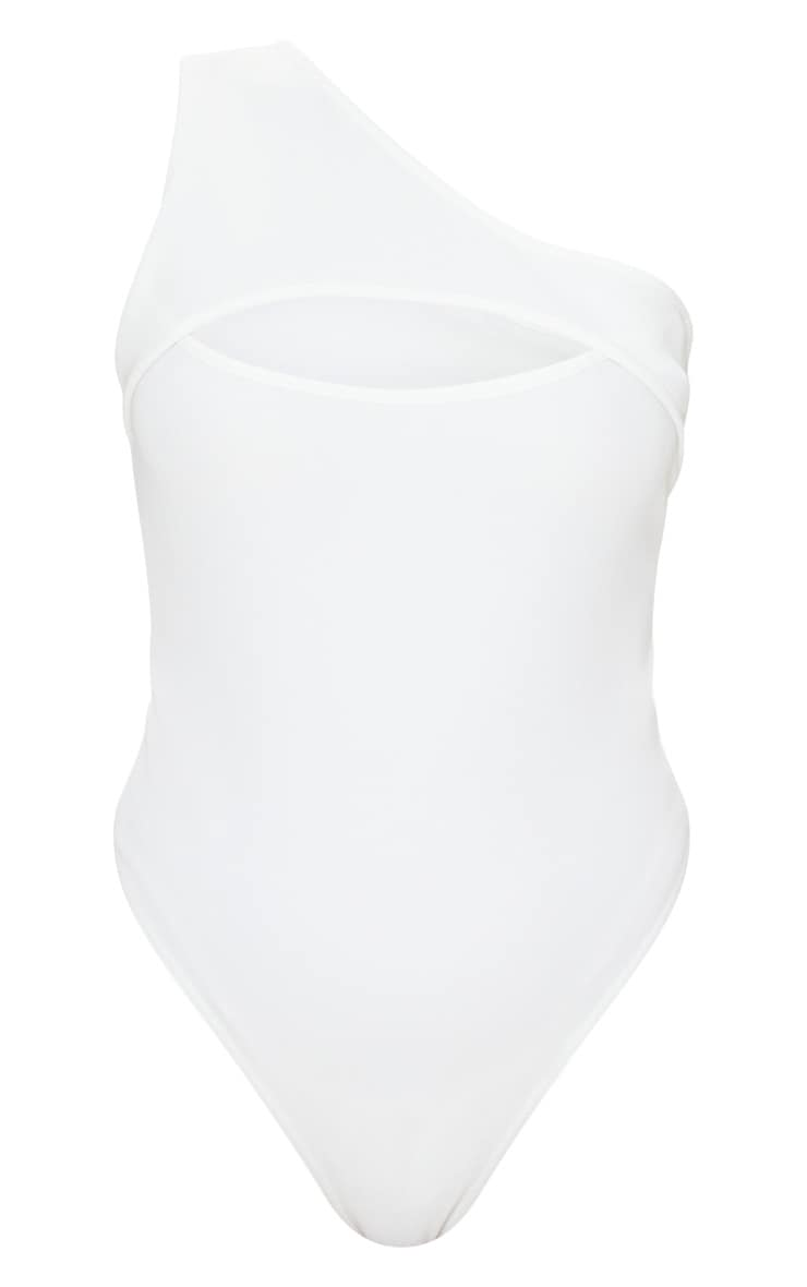 White Structured Rib Cut Out One Shoulder Bodysuit 5