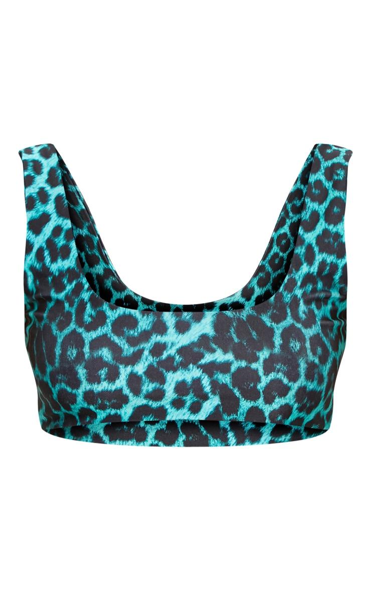 Blue Cheetah Scoop Neck Bikini Top 3