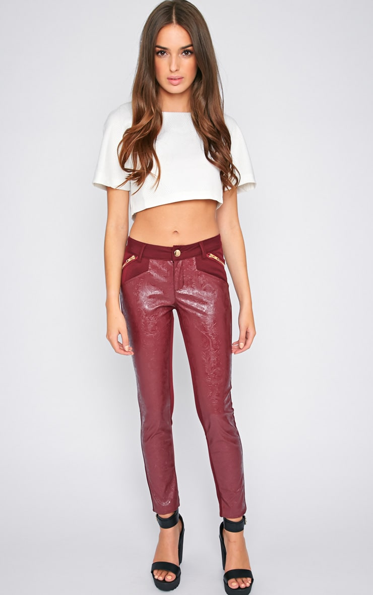 Sheree Burgundy Leather Panel Jeans With PU Floral Detail 5