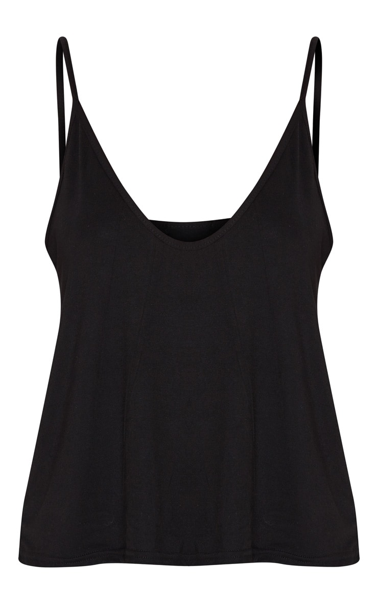 Black Basic Jersey V Neck Swing Vest  3