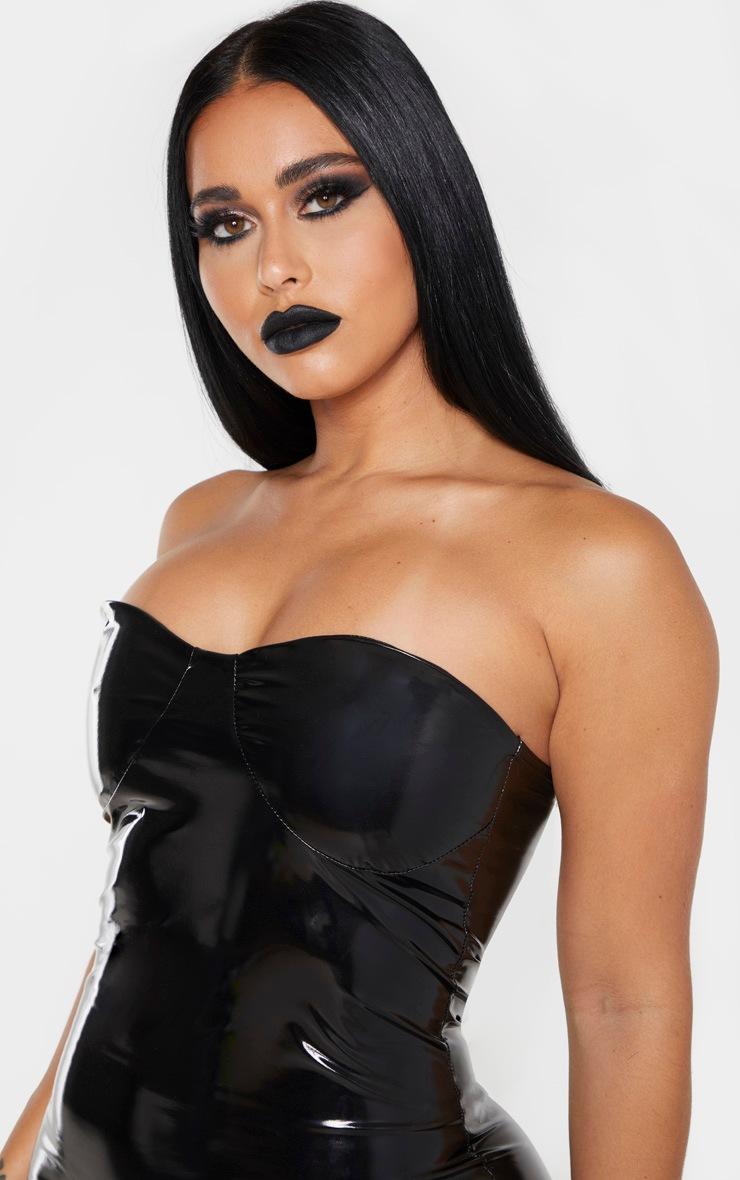 Shape - Robe mi-longue en vinyle noir à détails bonnets 4