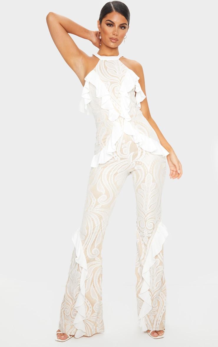 White Ruffle Detail Lace Jumpsuit 1