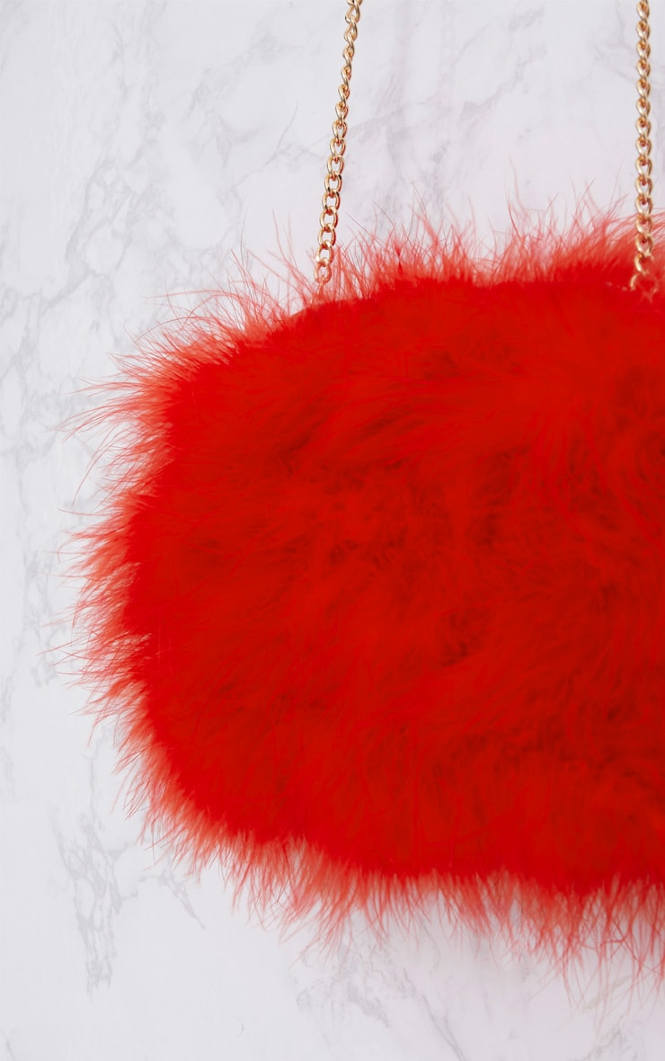 Red Marabou Feather Clutch Bag 4