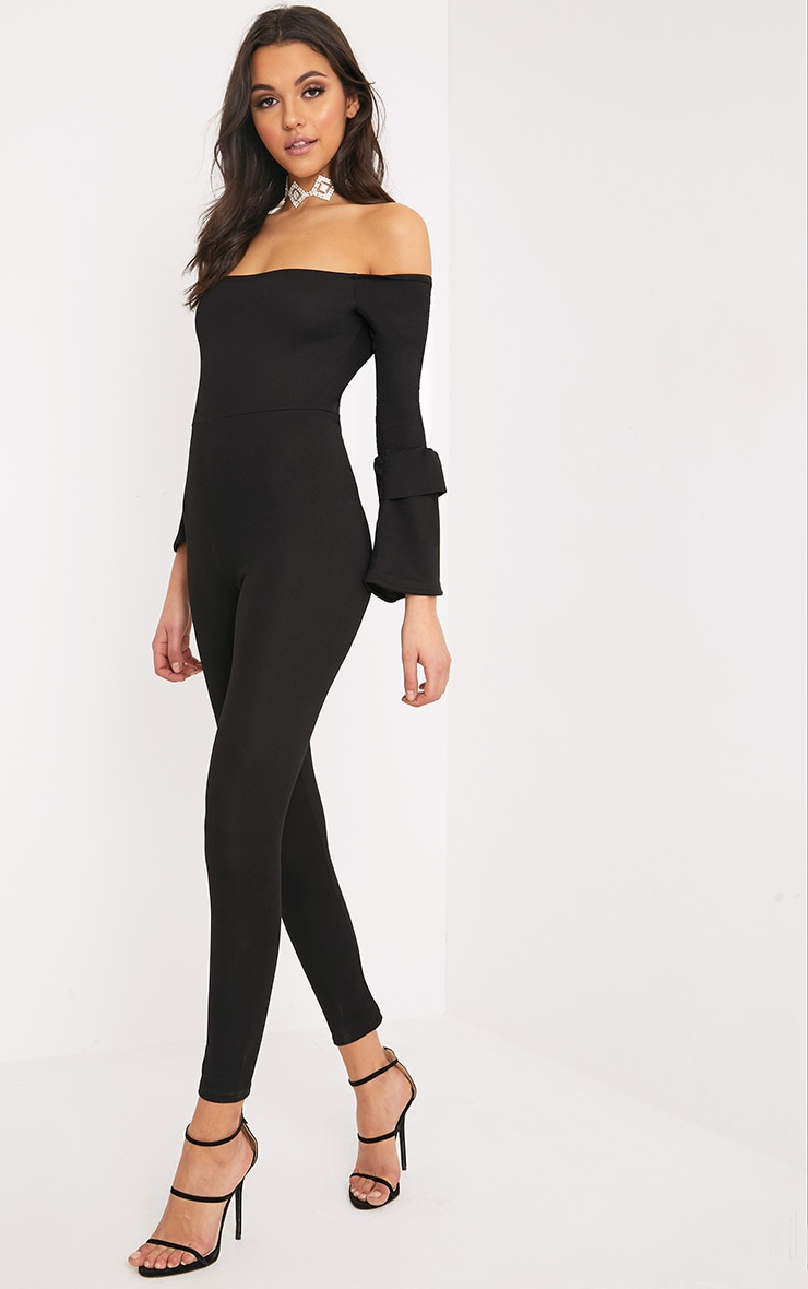 Chantall Black Bardot Bell Sleeve Jumpsuit  4