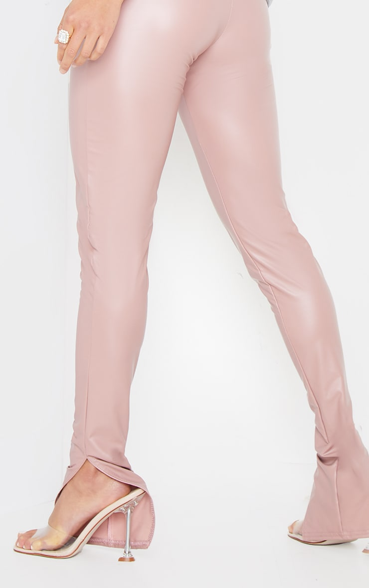 Petite Dusty Pink Split Hem Coated PU Leggings 4