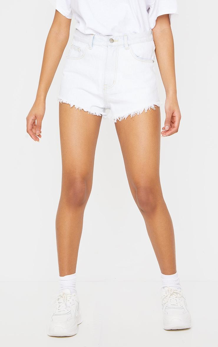 PRETTYLITTLETHING Bleach Wash Frayed Hem Denim Shorts 2