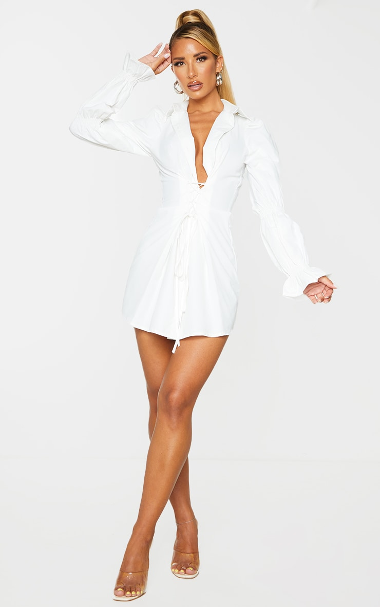 White Lace Up Detail Shirred Sleeve Shirt Dress 3
