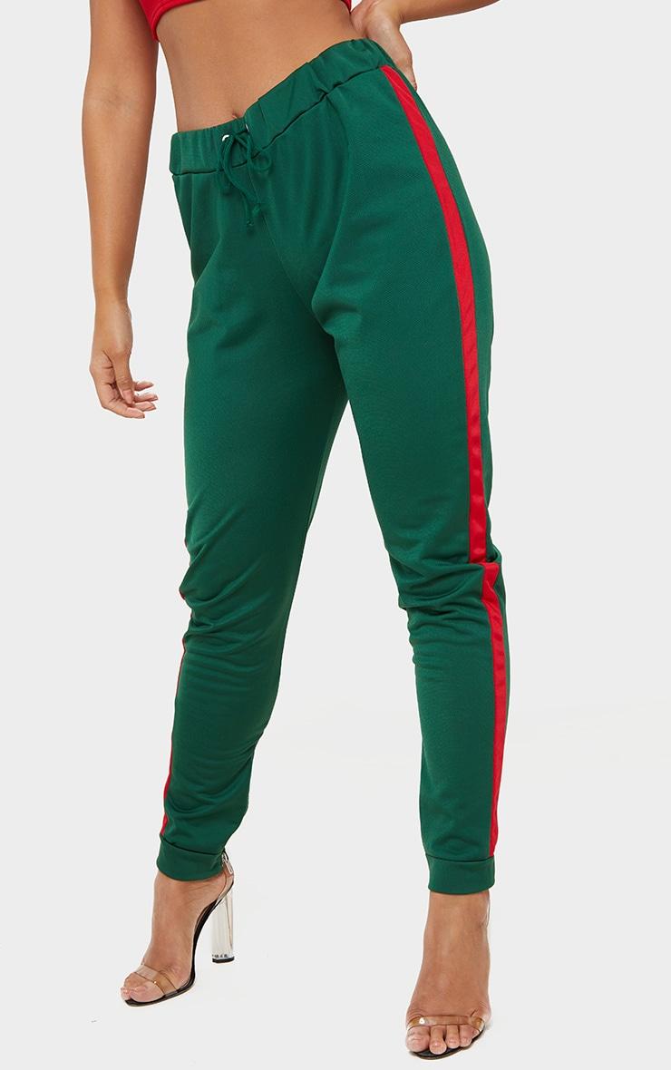 Green Scuba Contrast Stripe Joggers  2