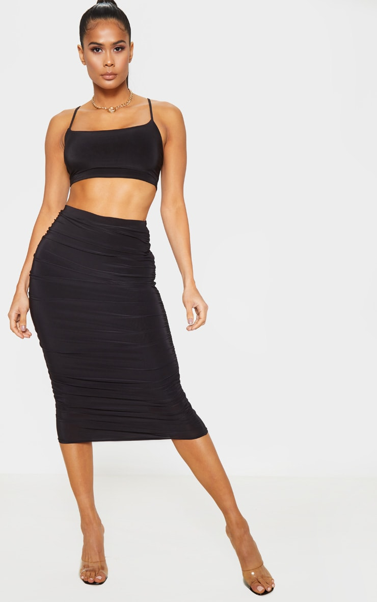 Black Slinky Second Skin Ruched Midi Skirt 1