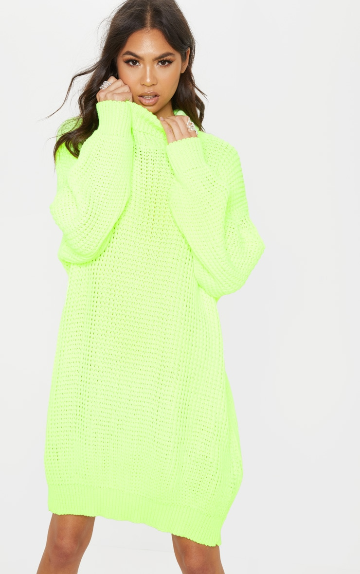 1979509f2ac Neon Lime Oversized High Neck Knitted Jumper Dress image 1