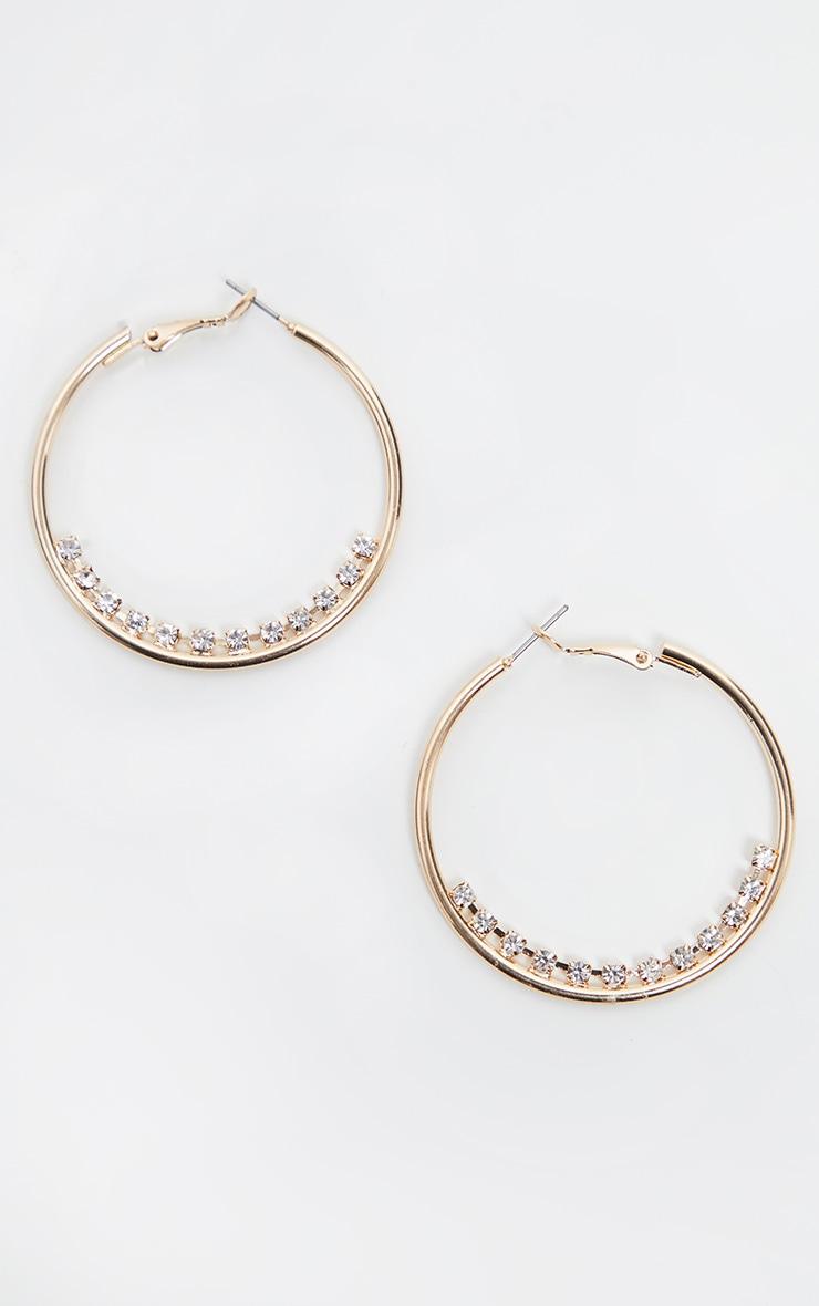 Gold Hoop Diamante Line Hoop Earring 2