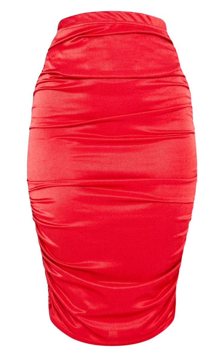 Deep Red Metallic Slinky Ruched Midi Skirt 3