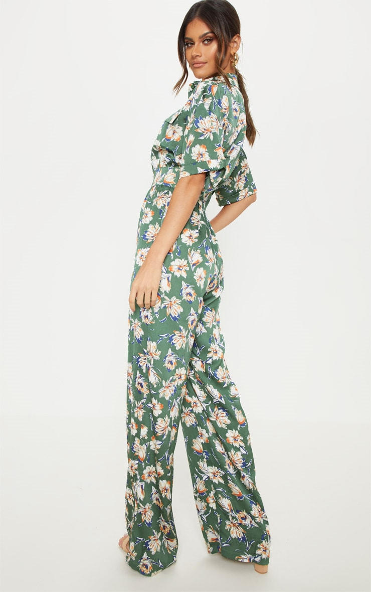 Green Floral Button Up Short Sleeved Jumpsuit 2