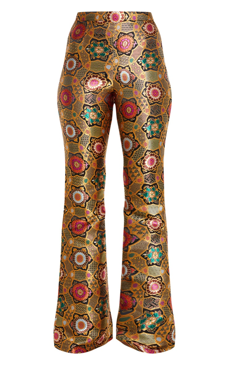 Gold Jacquard High Waisted Flared Pants 5