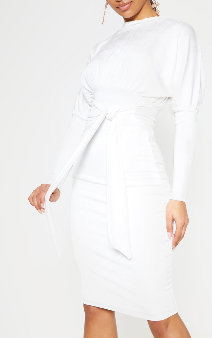 White Balloon Sleeve Tie Waist Midi Dress 5