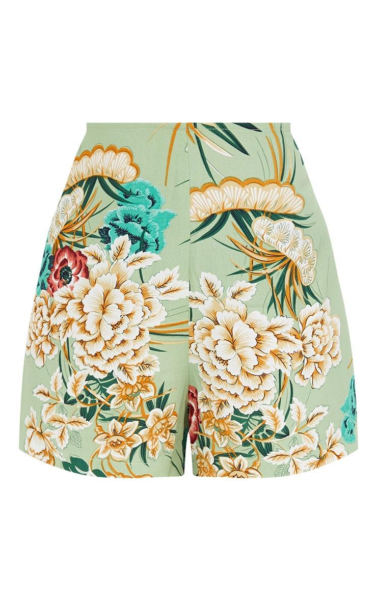 Sage Green Floral Kimono Shorts 3