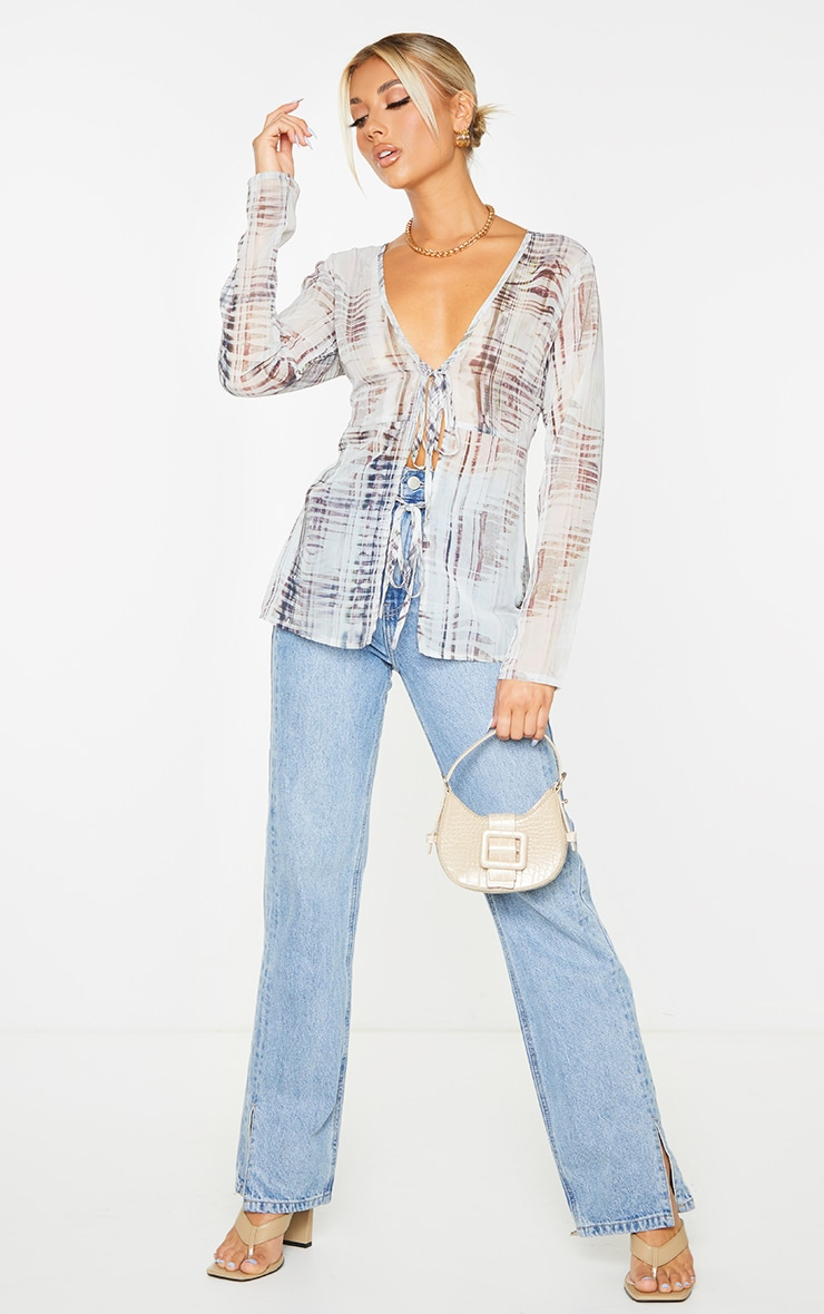 Nude Textured Print Chiffon Double Tie Front Long Sleeve Blouse 3