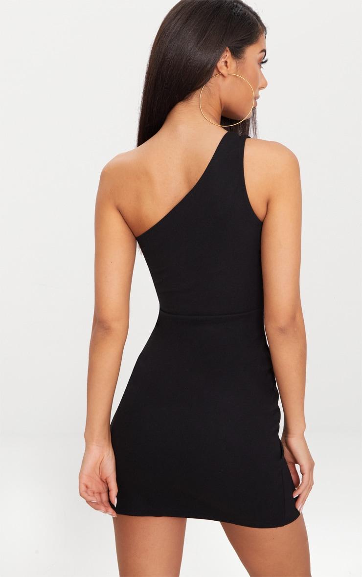 Black One Shoulder Extreme Split Detail Bodycon Dress 2