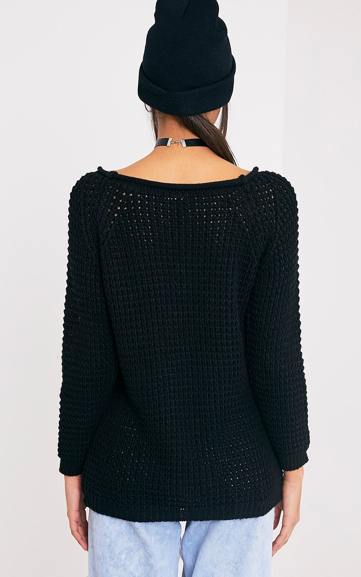 Haidyn Black Lace Up Knitted Jumper 2