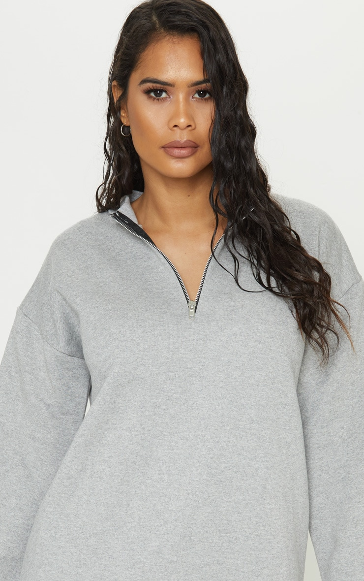 Grey Zip High Neck Jumper Dress 5