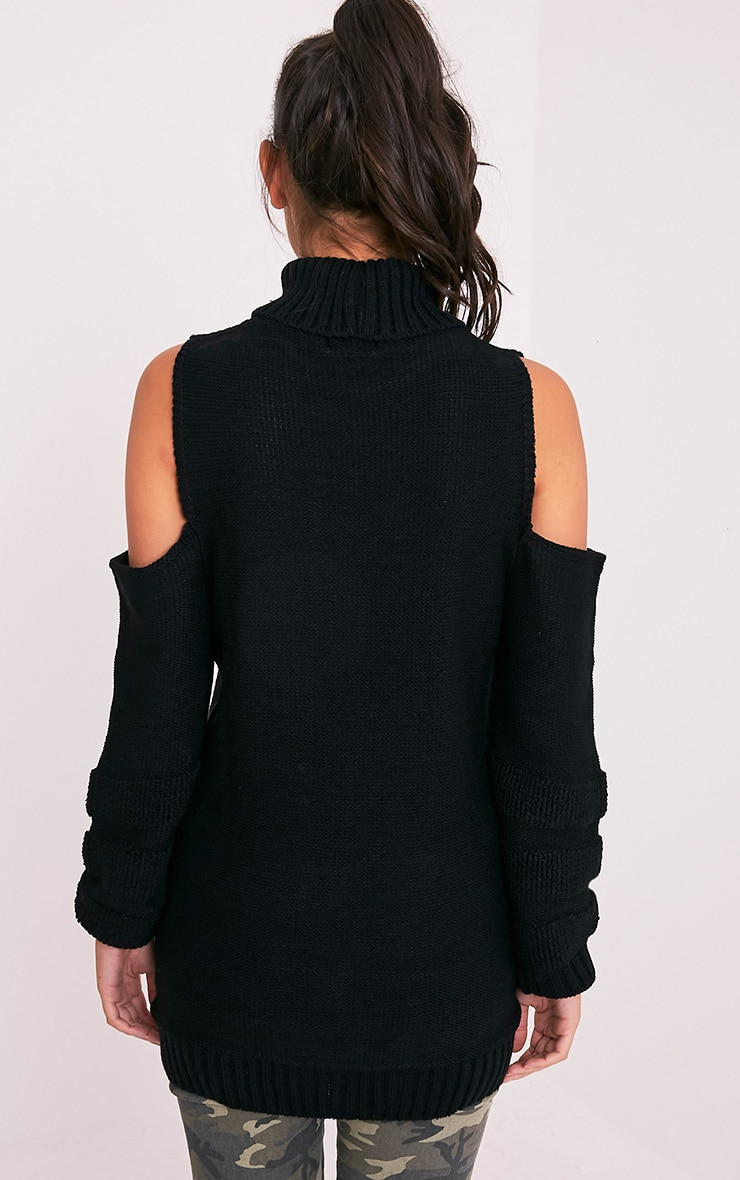Hunni Black Cold Shoulder Roll Neck Jumper 2