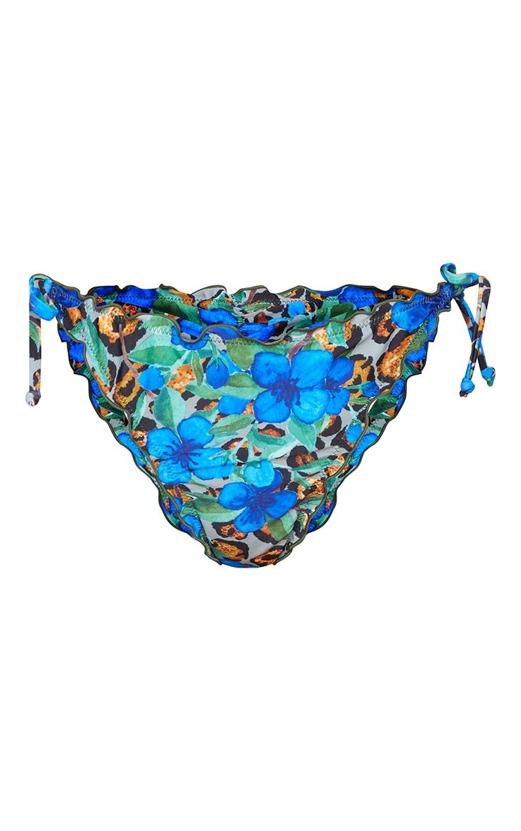 Blue Floral Animal Frill Edge Ruched Back Bikini Bottom 5