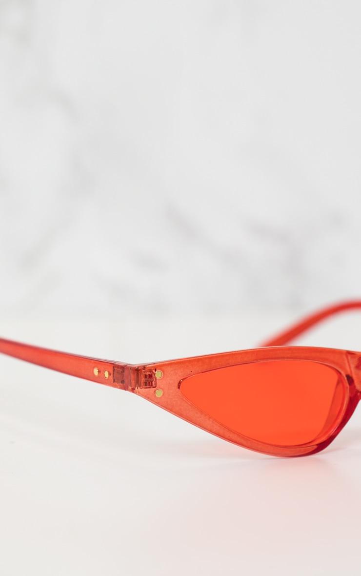 Red Small Cat Eye Skinny Sunglasses 4