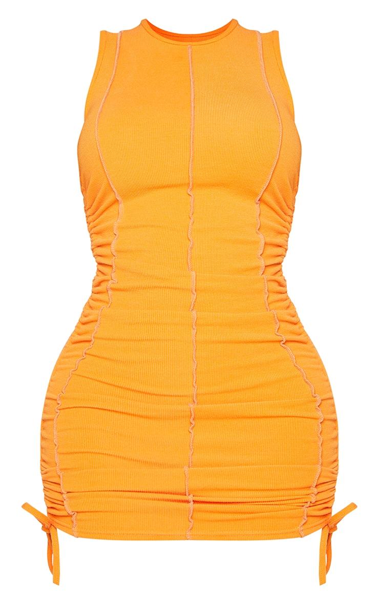 Shape Orange Overlock Stitch Sleeveless Ruched Side Bodycon Dress 5