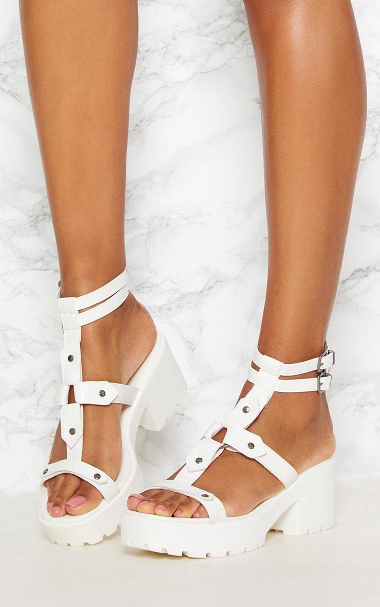 White Ring Detail Gladiator Chunky Sandal 2