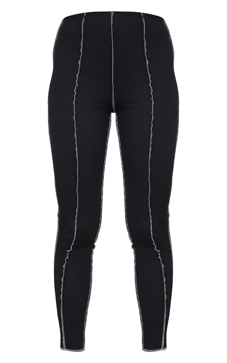 Black Ribbed Contrast Seam Detail Leggings 5