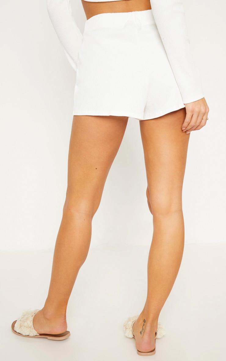 Cream Rib Shorts 5