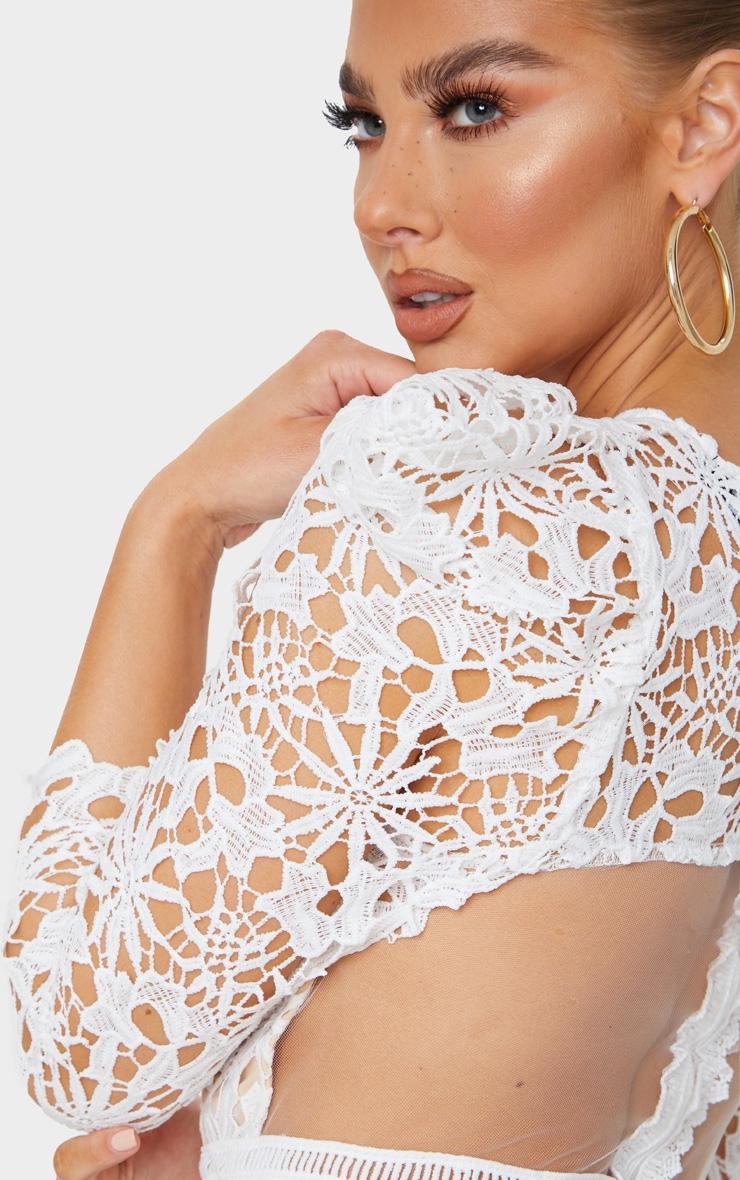 White Lace Open Back Long Sleeve Midi Dress 4