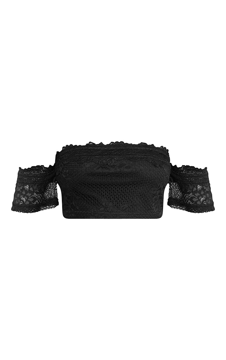 Alisia Black Lace Bandeau Crop Top 3