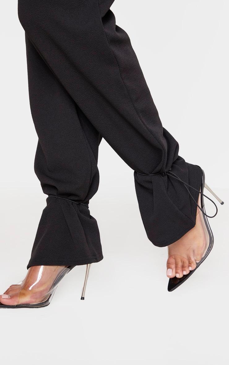 Black Crepe Toggle Hem Trousers 5