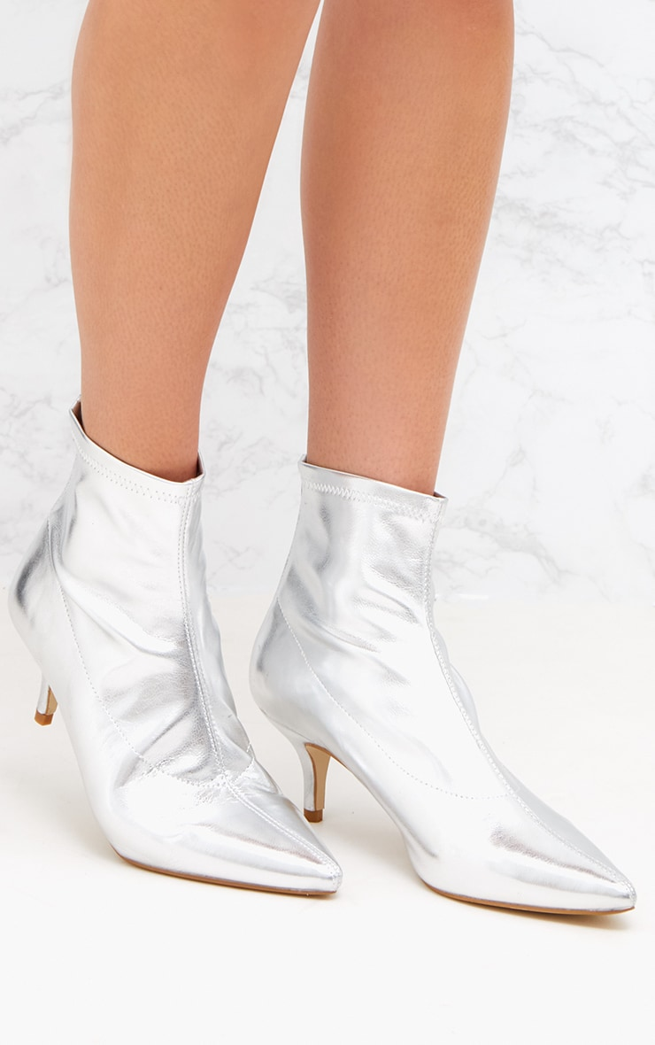Silver PU Low Heeled Ankle Boots 1