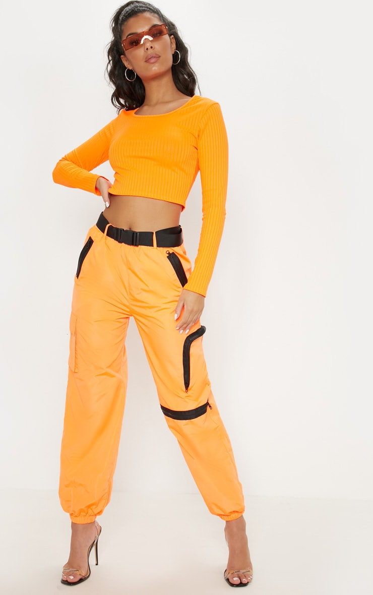 Neon Orange Scoop Neck Long Sleeve Crop Top 4