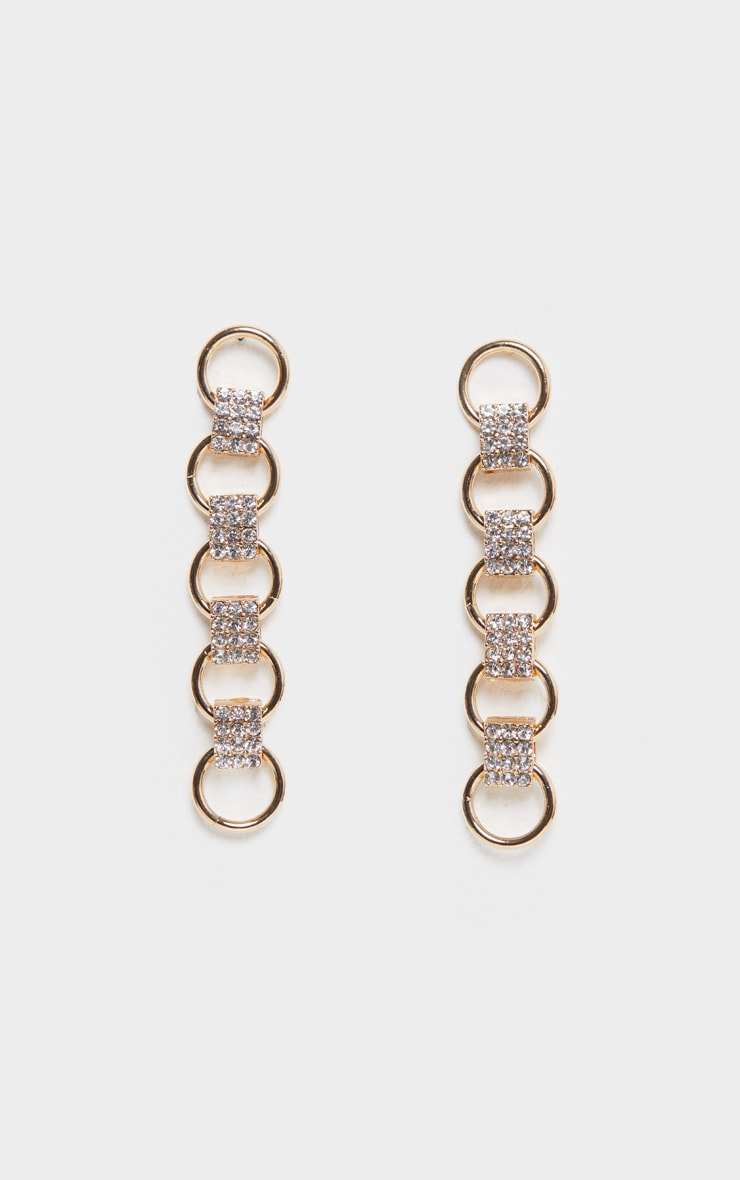 Gold Circle Pave Link Drop Earring 3