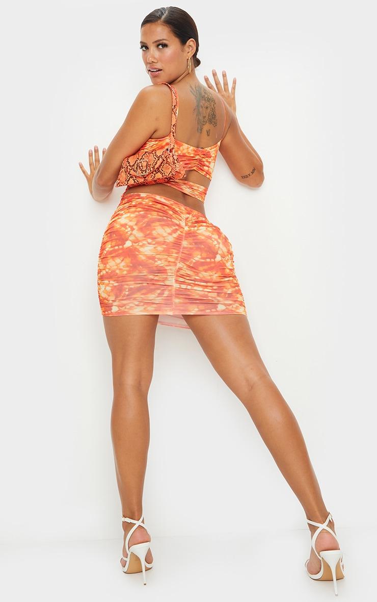 Shape Orange Tie Dye Slinky Cut Out Back Bodycon Dress 1